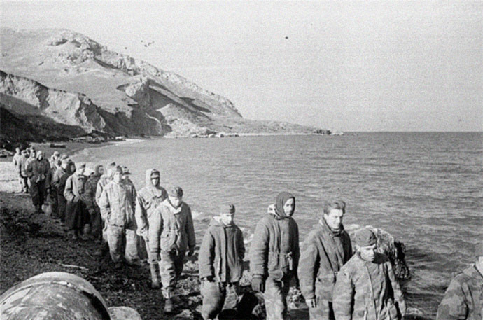 A column of German POWs, Crimea Peninsula, 1944