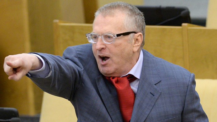 Uproar as LibDem leader Zhirinovsky attacks pregnant reporter