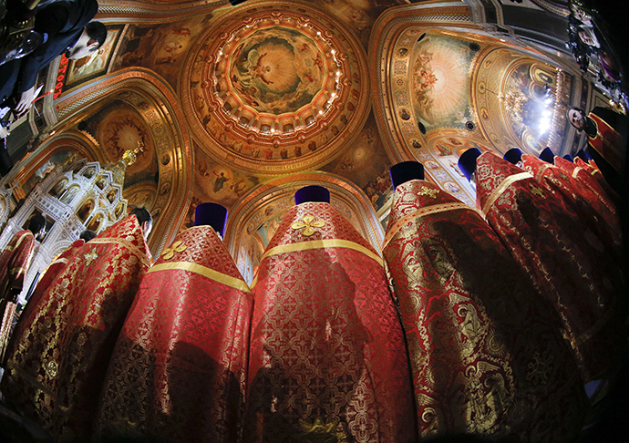 Russian Orthodox priests attend an Easter service in the Christ the Saviour Cathedral in Moscow, April 20, 2014. (Reuters / Maxim Shemetov)