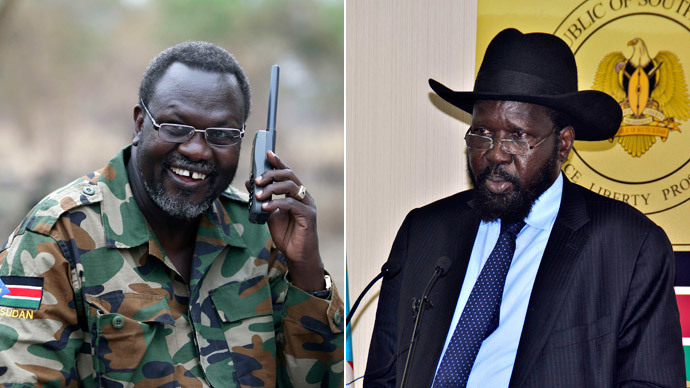 Rebel leader Riek Machar, President Salva Kiir Mayardit.(Reuters / Goran Tomasevic / AFP Photo /Charles Lomodong )