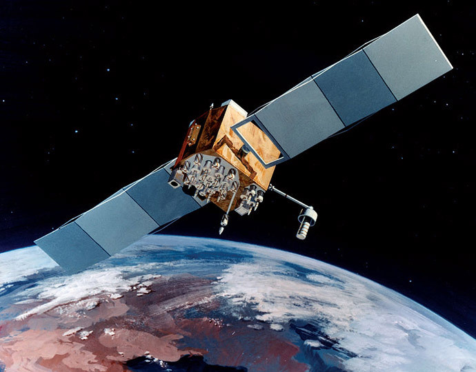 Navstar-2F satellite of the Global Positioning System (image from wikipedia.org by USAF)