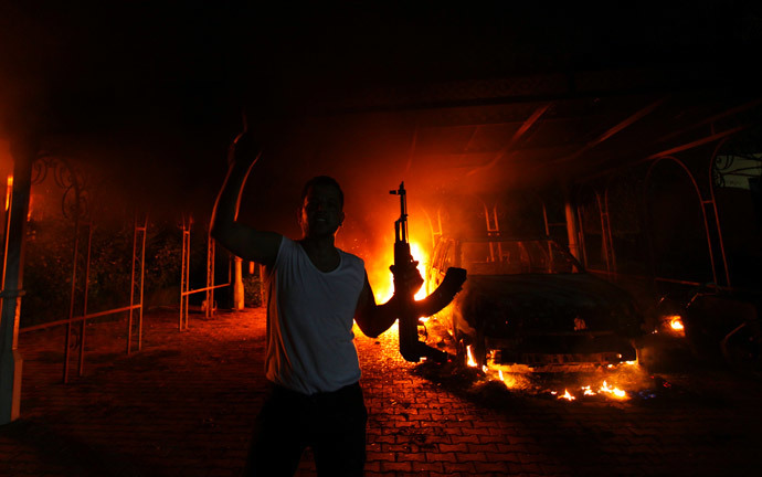 The U.S. Consulate in Benghazi is seen in flames.(Reuters / Esam Al-Fetori )