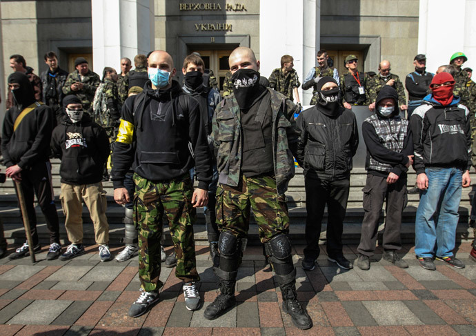Members of the Ukrainian far-right radical group Right Sector.(Reuters / Valentyn Ogirenko)