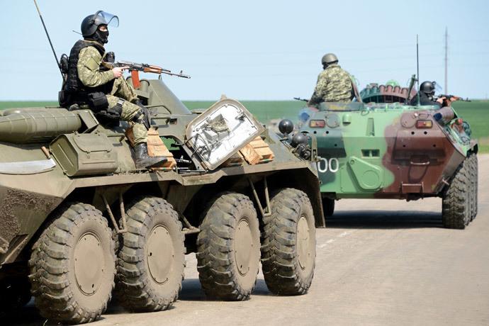 Ukrainian special forces take position in the eastern Ukrainian city of Slavyansk on April 24, 2014.(AFP Photo / Kirill Kudryavtsev)