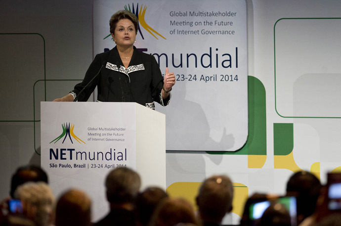 "Brazilian President Dilma Rousseff delivers a speech during the opening ceremony of the ""NETmundial – Global Multistakeholder Meeting on the Future of Internet Governance"", on April 23, 2014 in Sao Paulo, Brazil. (AFP Photo/Nelson Almeida)"
