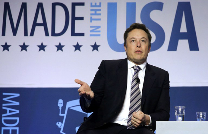 CEO and chief designer of SpaceX Elon Musk participates in a discussion during the 2014 annual conference of the Export-Import Bank (EXIM) April 25, 2014 in Washington, DC. (AFP Photo / Alex Wong)
