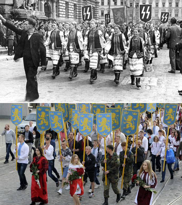 Lviv 1943 (Top photo). AFP Photo/Yuriy Dyachyshyn