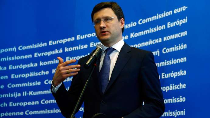 Russian Minister for Energy Alexander Novak speaks after his meeting with Guenther Oettinger, EU energy commissioner and Ukrainian Minister for Energy Yuri Prodan in Warsaw May 2, 2014 (Reuters / Kacper Pempel)