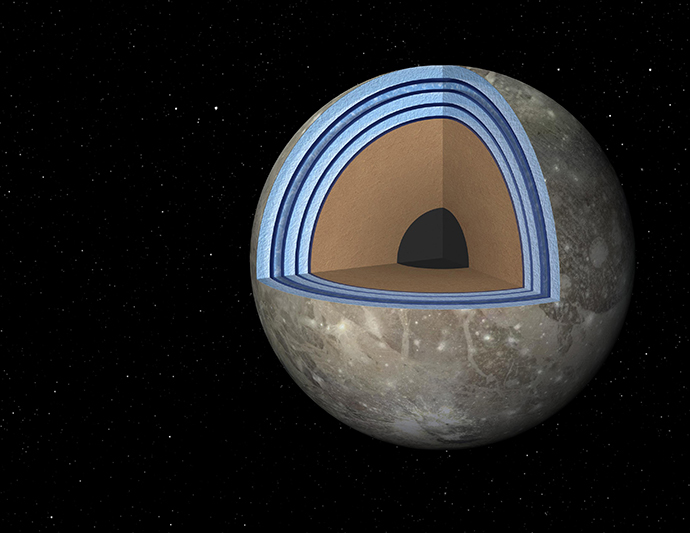 "This artist's concept of Jupiter's moon Ganymede, the largest moon in the solar system, illustrates the ""club sandwich"" model of its interior oceans. (Reuters / NASA)"
