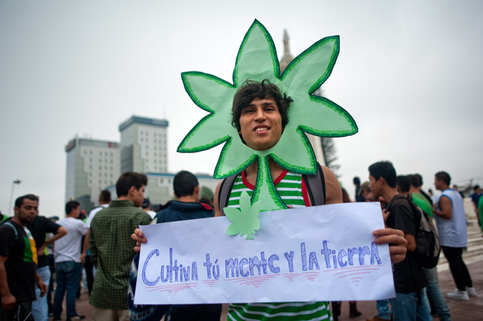 An activist takes part in a march demanding the legalization of marijuana in San Salvador, El Salvador on May 3, 2014.(AFP Pho to/Jose Cabezas)