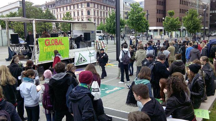 Frankfurt, Germany. May 3, 2014. (Photo from facebook.com/GlobalMarihuanaMarch)