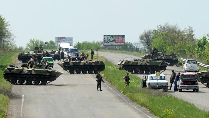 A checkpoint of the Ukrainian Army on the road linking Kramatorsk and Slavyansk.(RIA Novosti / Mikhail Voskresenskiy)