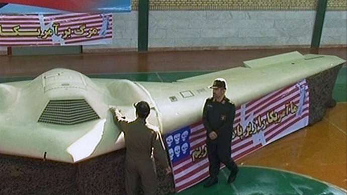 A grab taken from the Iranian state-run Press TV on December 8, 2011 shows what Iranian officials claim is the US RQ-170 Sentinel high-altitude reconnaissance drone that crashed in Iran on December 4, 2011 displayed at an undisclosed location. (AFP Photo)