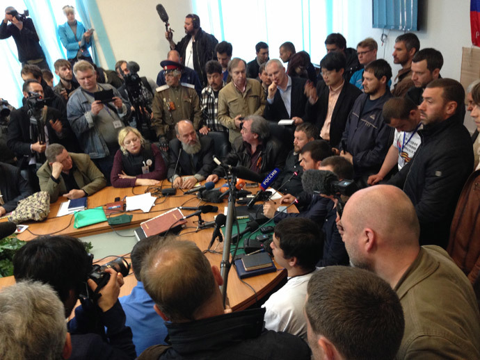 Press conference on the results of the meeting of the People's Republic of Donetsk on postponing the referendum in the region. RIA Novosti / Natalia Seliverstova