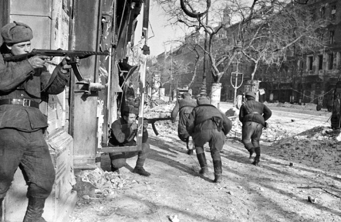 Soviet soldiers during a battle in Budapest, Hungary. 13.02.1945. Photo by Evgeny Haldei. (RIA Novosti)