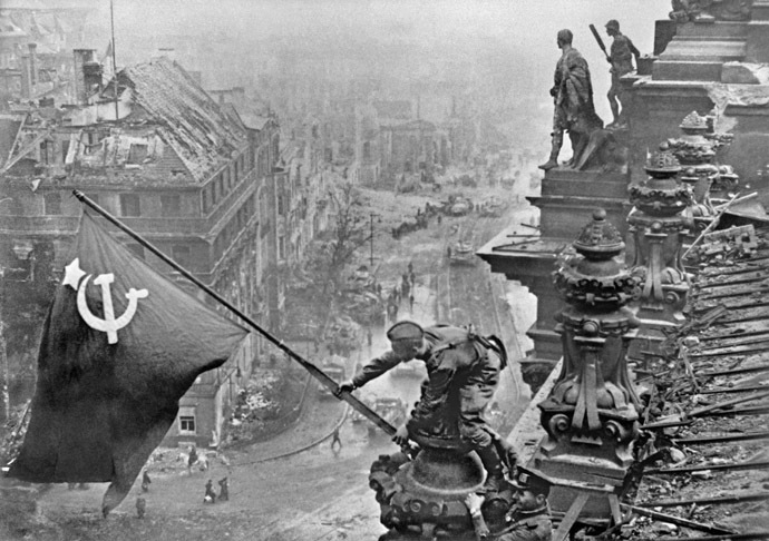 Victory banner over Berlin, 01.05. 1945. Photo by Evgeny Haldei. (RIA Novosti)