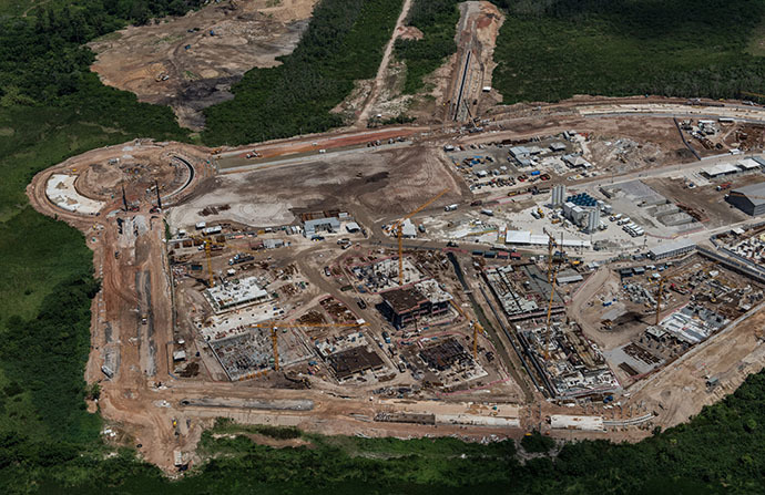 Aerial view of the construction site of the Olympic and Paralympic Village at Barra da Tijuca, in Rio de Janeiro, Brazil, on December 3, 2013. (AFP Photo / Yasuyoshi Chiba)