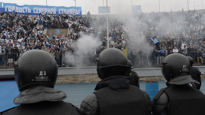 Tear gas, rubber bullets in Lille, France, as Everton fans clash with police