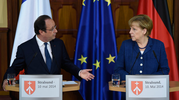 German Chancellor Angela Merkel and French President Francois Hollande on May 10, 2014.(AFP Photo / Odd Andersen)