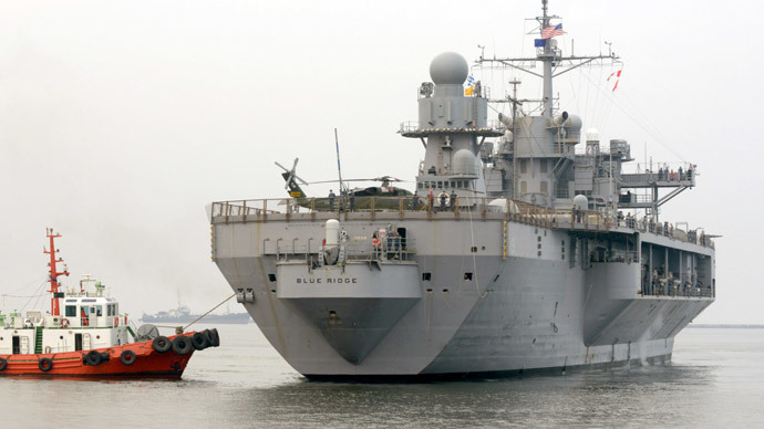 The USS Blue Ridge, flagship of the US Seventh Fleet, arrives at the port in Manila.(AFP Photo / Jay Directo)