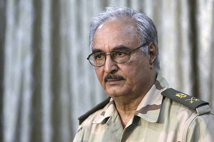 General Khalifa Haftar attends a news conference at a sports club in Abyar, a small town to the east of Benghazi on May 17, 2014. (Reuters / Esam Al-Fetori)