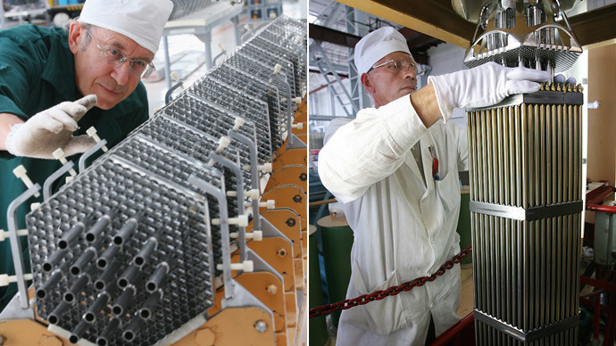 Nuclear power reactor fuel assembly racks at the Novosibirsk Chemical Concentrate Works.(RIA Novosti / Ruslan Krivobok)