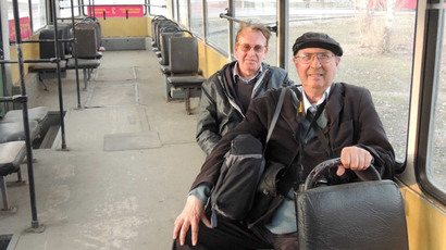John Scraggs using public transport in Samara (photograph courtesy of John Scraggs)