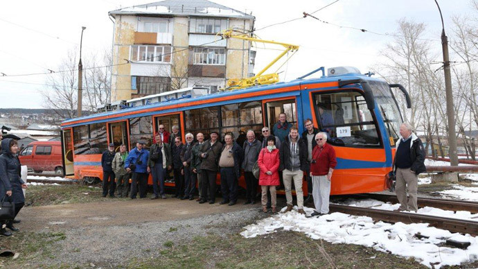 John Scraggs with fellow transport enthusiasts during their visit to Samara (photograph courtesy of John Scraggs)