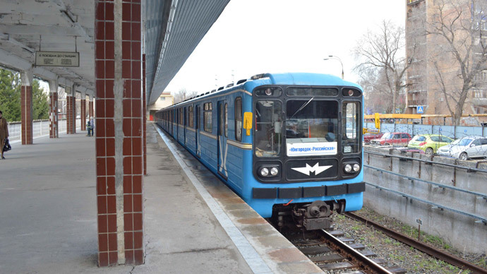 A train pulling into a station on the Samara metro (photograph courtesy of John Scraggs)