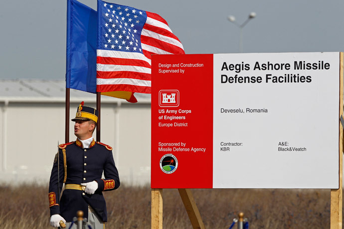 A Romanian soldier attends the official ground breaking ceremony of the site for the U.S. Aegis Ashore missile defense facility, located in a former airbase on Deveselu that will form part of a shield to protect Europe, next to Deveselu village, 182 km east of Bucharest, October 28, 2013.(Reuters / Bogdan Cristel )