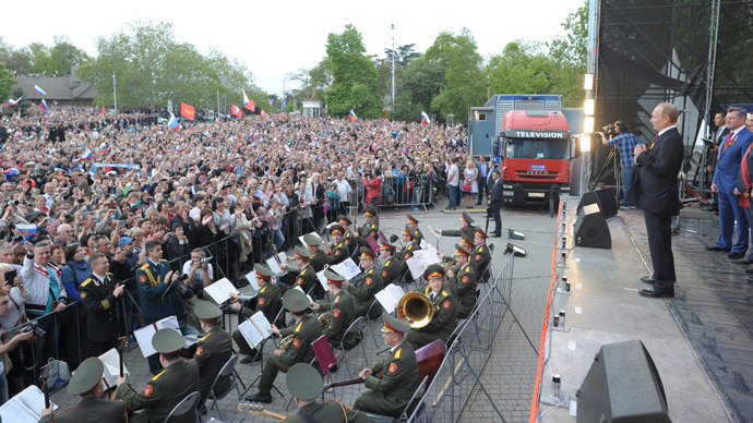 Russian President Vladimir Putin makes a speech during events to mark Victory Day in Sevastopol May 9, 2014.(Reuters / Alexei Druzhinin)