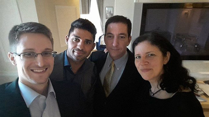 Here he is! Edward Snowden in reunion selfie with Greenwald, Poitras