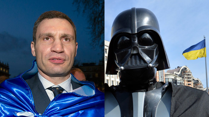 Vitaly Klitschko (AFP Photo / Carl Court) and the rejected candidate of the Ukrainian Internet Party (AFP Photo / Sergei Supinsky)