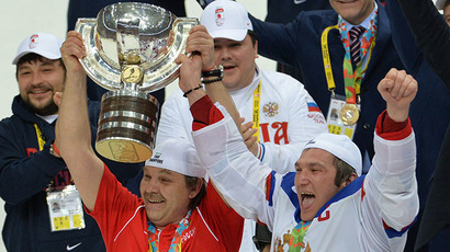 Russia grabs world hockey champs title, crushes Finland 5-2