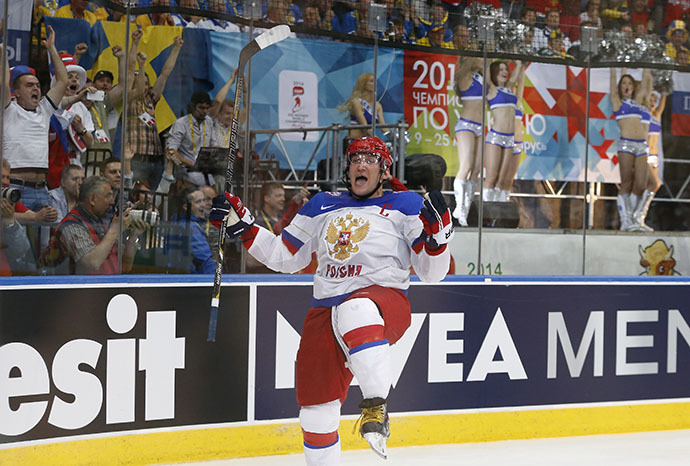 Russia's Alexander Ovechkin celebrates after scoring a goal against Finland during the second period of their men's ice hockey World Championship final game at Minsk Arena in Minsk May 25, 2014. (Reuters / Vasily Fedosenko)