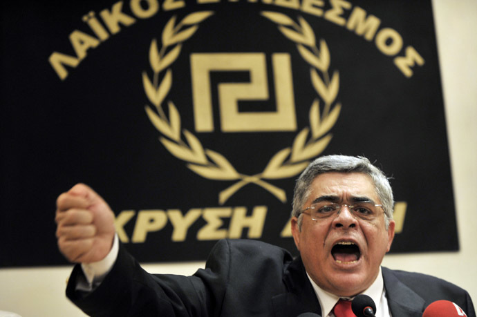 Leader of the Golden Dawn Nikolaos Mihaloliakos (AFP Photo/Louisa Gouliamaki)