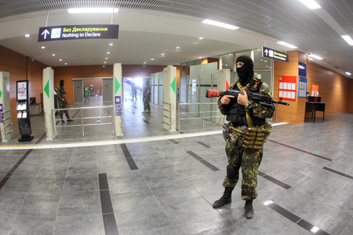 Donbass people's volunteer corps members have established control over Donetsk International Airport. (AFP Photo)