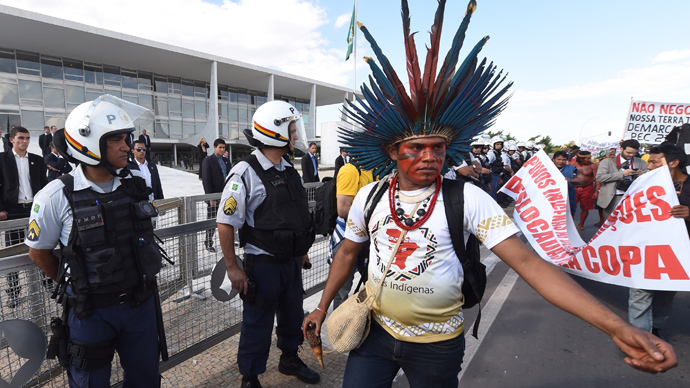 Brazilian police clash with indigenous groups protesting World Cup (PHOTOS)