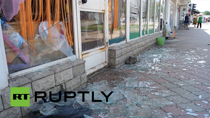 Shop windows shattered by shelling in Slavyansk on May 28, 2014. (A screenshot from Ruptly video)