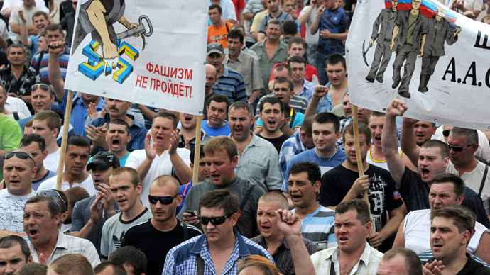 Ukrainian miners protest against Kiev's military op in 'March of Peace' (VIDEO)