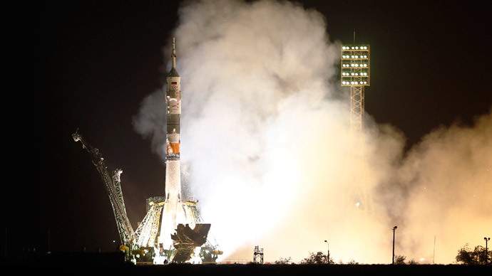 The Soyuz TMA-13M spacecraft carrying the International Space Station crew of Alexander Gerst of Germany, Maxim Surayev of Russia and Reid Wiseman of the U.S. blasts off from the launch pad at the Baikonur cosmodrome May 29, 2014.(Reuters / Shamil Zhumatov)