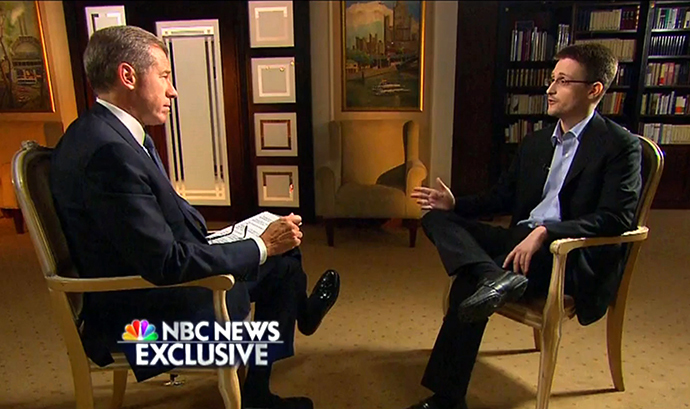 This NBC News handout video frame grab shows an NBC News Exclusive interview with Brian Williams and Edward Snowden, excerpted from the May 28, 2014 TV primetime special. (AFP Photo)
