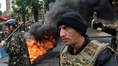 ​Back to burning: Maidan activists set tires on fire to protest eviction (VIDEO)