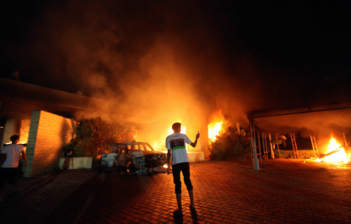 The U.S. Consulate in Benghazi is seen in flames during a protest by an armed group said to have been protesting a film being produced in the United States September 11, 2012.(Reuters / Esam Al-Fetori )