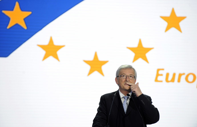 Jean-Claude Juncker reacts on provisional results for the European Parliament elections at the European Parliament in Brussels May 25, 2014. (Reuters/Eric Vidal)