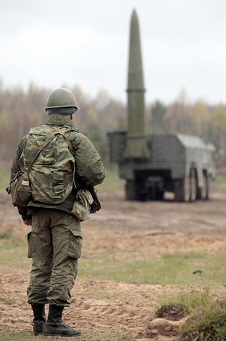 Iskander high-precision missile system in place during military exercises (RIA Novosti)