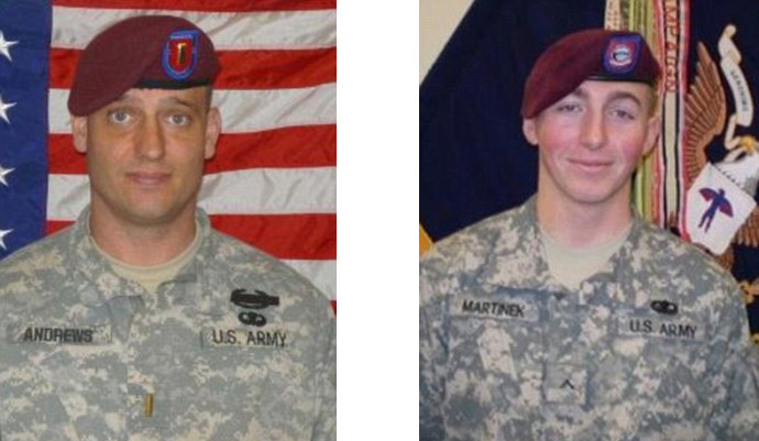 Second Lieutenant Darryn Andrews, 34, (L) and Private First Class Matthew Michael Martinek, 20 (image by US Army)