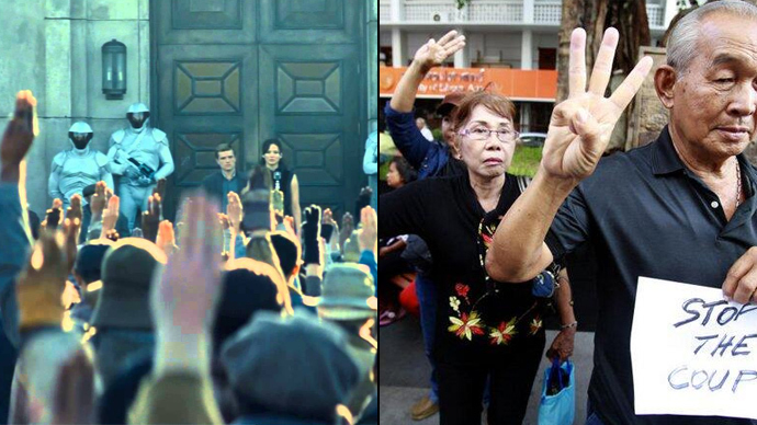 'Hunger Games' three-finger salute adopted by Thai protesters (PHOTOS)