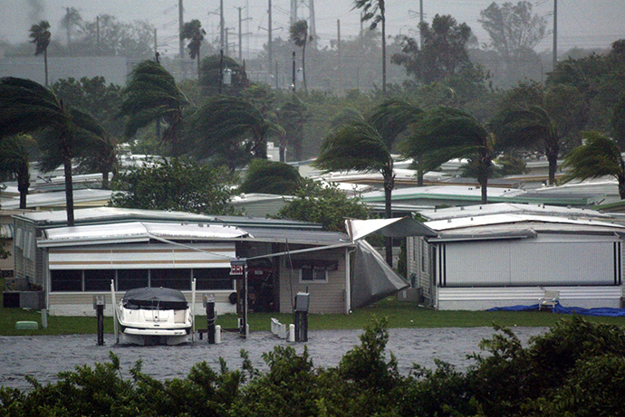 A trailer park is damaged by Hurricane Charley in Port Charlotte, Florida after Charley hit the west coast of Florida on August 13, 2004 (Reuters / Marc Serota MS)