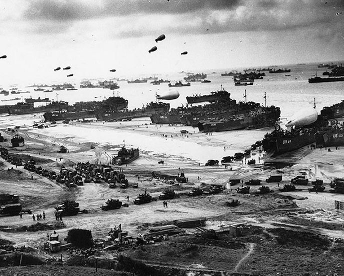 US LST unloading equipment on the beach in Normandy France after the initial invasion on the 6 June 1944. (AFP Photo)